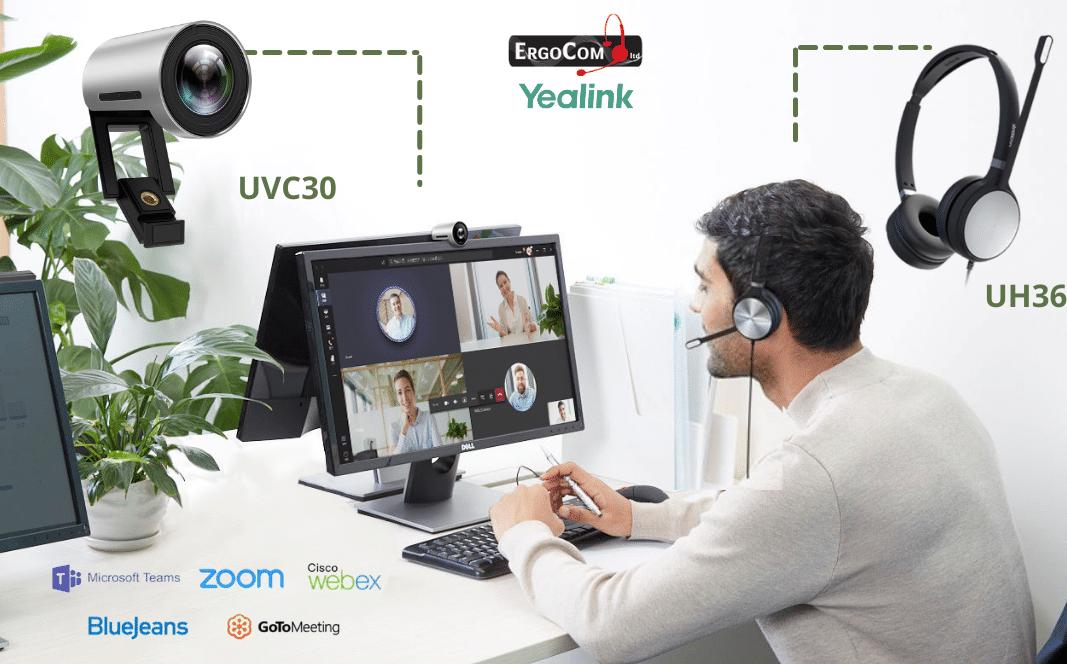 4K-UH36-uvc30-עובדים-לומדים-מהבית-ארגוקום-YEALINK-מארכת-ראש-מצלמה